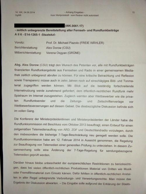 Bundes dann bayerischer Landtagspetition - GEZ produzierte Sendungen - Verweildauer Mediathek - IMG_20150613_114812